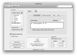 GeekTool settings for use with the gmail.sh script